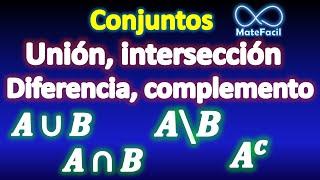 Conjuntos: Unión, intersección, resta (diferencia), complemento, universo, etc