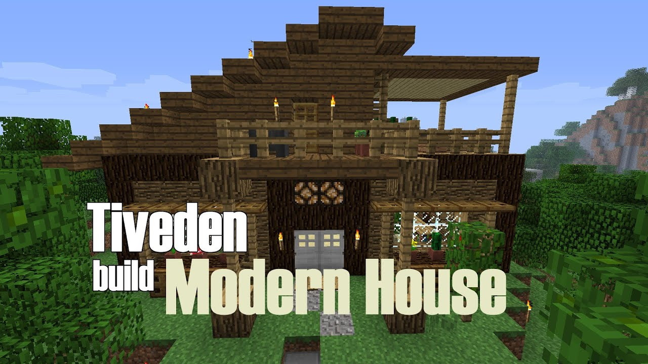 Minecraft build modern house tiveden youtube for Simple house design made of wood