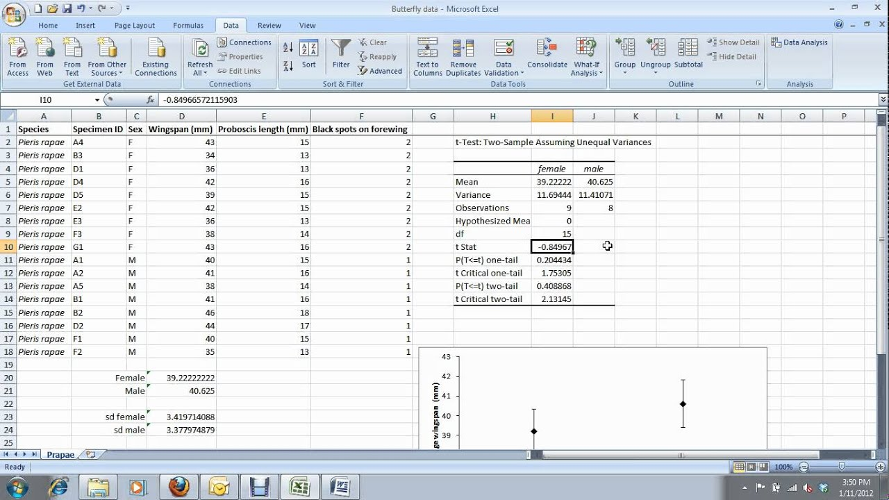 5 how to do a t test in excel for carleton university biol 1004 1104 youtube