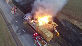 Semi full of hay on fire I-70 mile 242 Drone