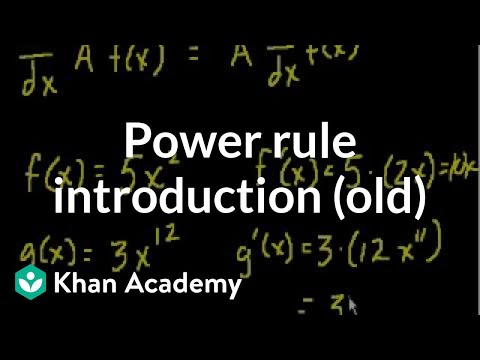 Power rule introduction (old)   Taking derivatives   Differential Calculus   Khan Academy