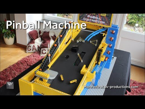 This Lego Pinball machine requires 4000 bricks, 6 servos, 5 motors, and an MP3 player