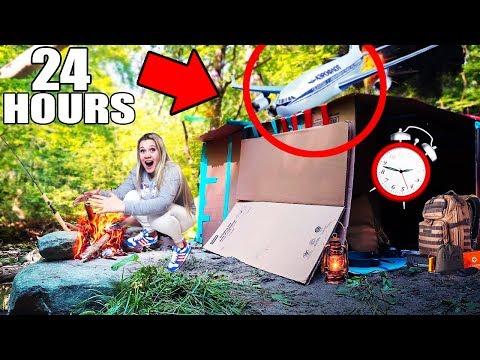 УПАЛ САМОЛЕТ в 3 часа ночи 24 ЧАСА В ФОРТЕ из коробок ПАДАЕТ САМОЛЕТ В ЛЕСУ! 24 HOUR CHALLENGE!📦