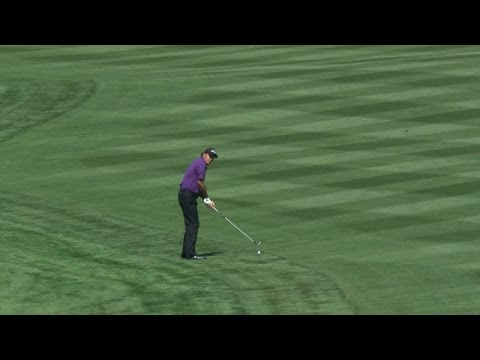 Phil Mickelson's approach flirts for an albatross on No. 14 at Valero