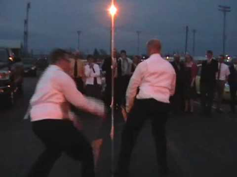 """Actual music and dancing start about 30 seconds in. This is what happens when there's a wedding between people from Putnam County and Darke County, Ohio. Hog Trough dance using the """"Evolution..."""