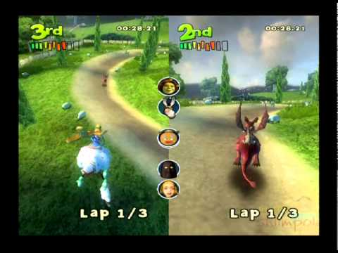 Shrek Smash n Crash Racing PS2 Multiplayer Gameplay (Dreamworks/Activision/Torus Games) All Courses