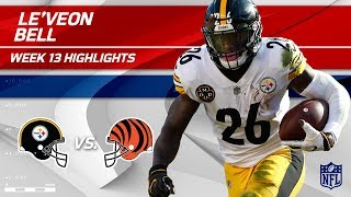Le'Veon Bell's 182 Total Yards & 1 TD vs. Cincinnati! | Steelers vs. Bengals | Wk 13 Player HLs