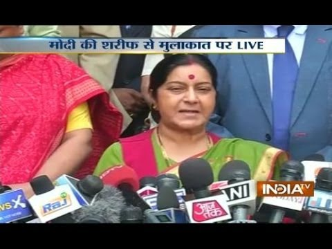 Minister of External Affairs Sushma Swaraj speaking live on Modi-Sharif meet