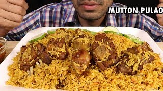 MUTTON PULAO-loaded plate with mutton pieces--eating with gravy(Mukbang Eating Show)