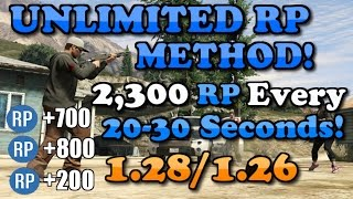 "GTA 5 Online: UNLIMITED RP METHOD! [1.28] ""BEST METHOD"" 2,300 RP Every 30-40 Seconds!"