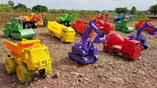 Learn Colors With Cars Toys | Play Sliding Dump Truck Excavator Road Roller Toys For Kids