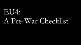 EU4: A Pre-War Checklist