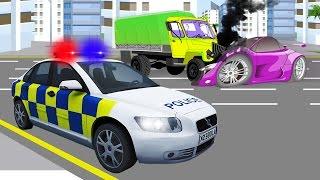 Autos für Kinder - Das Polizeiauto und das Rettungsteam - Zeichentricks für Kinder