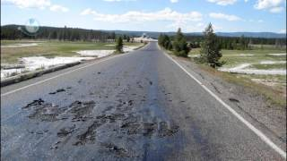 CARRETERA DERRETIDA POR CALOR EN YELLOWSTONE