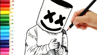 Como dibujar a Marshmello  😱 Speed Paint Marshmello