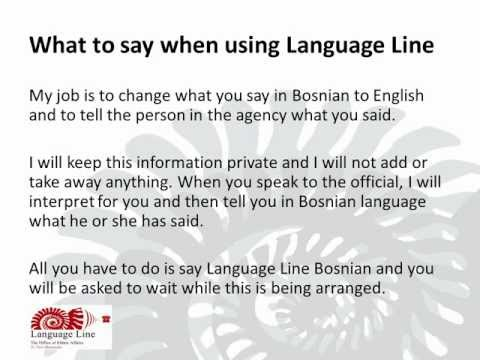 What to say when using Language Line - Bosnian