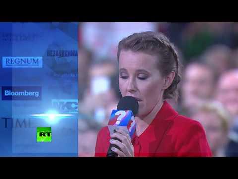 Путин — Собчак: «Вы идёте под лозунгом «Против всех» — это что, позитивная программа действий?»
