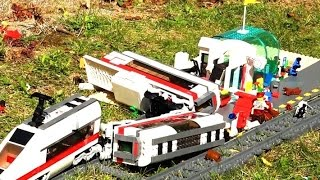 Lego train crash at railway station