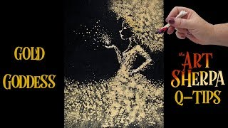 Qtip Gold Splatter Fierce Diva How to Paint with Acrylic for Beginners
