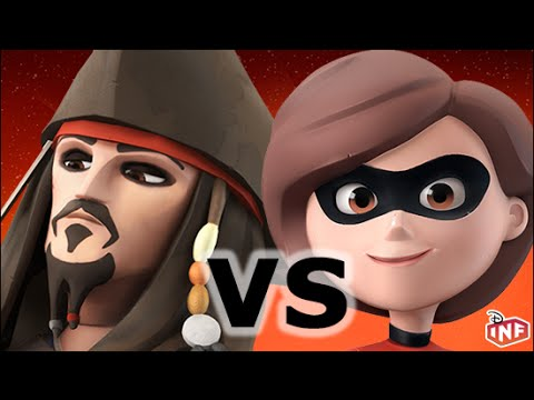 Captain Jack Sparrow vs Mrs Incredible sarlacc pit arena fight Disney Infinity toy box