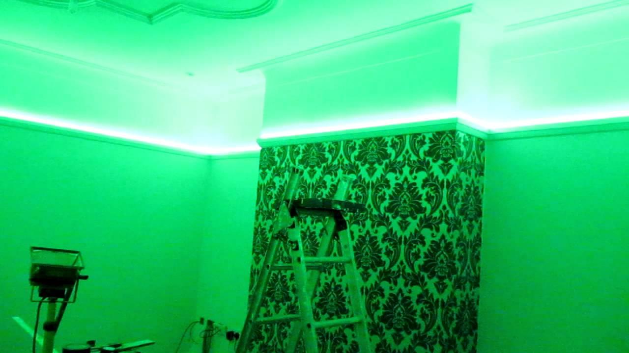 15m LED light strip hidden in picture rail 1st Install