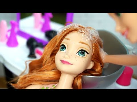 Rapunzel Barbie Beauty Salon Makeover Hair Style on Frozen Anna & Disney Princess Dolls