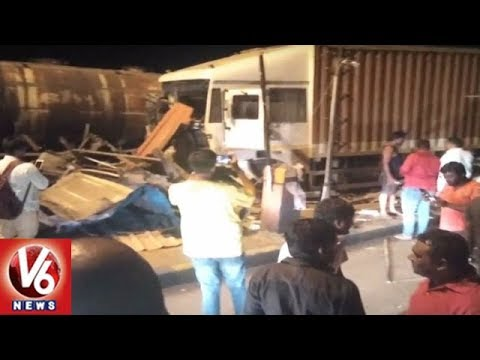 Speeding Container Crashes Into Toll Plaza At Toopran, 1 Lost Life | V6 News