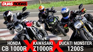 COMPARATIVO: HONDA CB 1000R x KAWASAKI Z1000R x DUCATI MONSTER