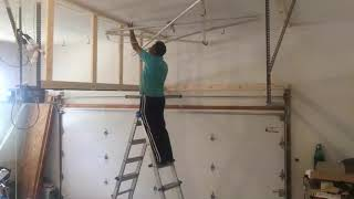 Over Garage door Hanging Shelf construction