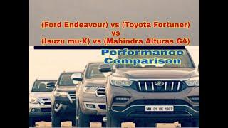 Endeavour vs Fortuner vs Isuzu mu-X vs Alturas G4    Comparison    Spec    Price    Performance