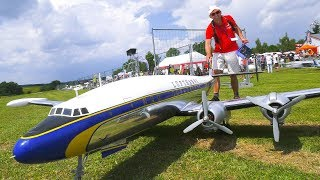 RC MODEL AIRPLANE LOCKHEED SUPER CONSTELLATION LUFTHANSA IN DETAIL AND DEMO FLIGHT!!