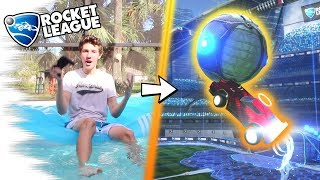 PLAYING Rocket League IN A POOL! - Challenge FUNNY MOMENTS & Goals! (Gameplay & Highlights)