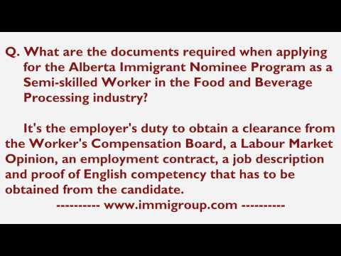 Documents required for  AINP as a Semi-skilled Worker in Food and Beverage Processing industry