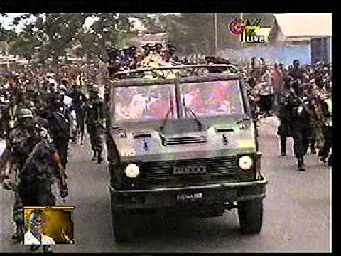 Presidential gun carriage casket being carried orderly in procession through some Principal streets in Accra before the final internment at the Geese Park. A...