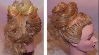 Прическа с цветком из волос и плетением / Hairstyle with a flower from her hair and braided