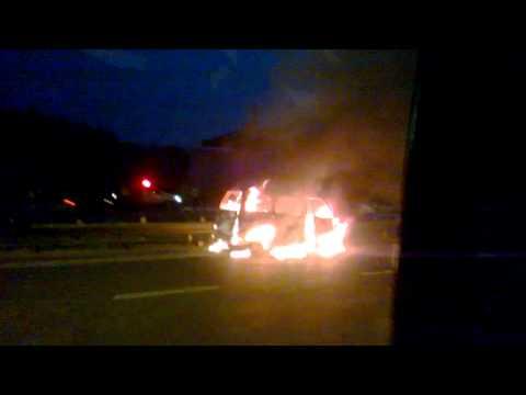 Car Burning like hell - Gurgaon Delhi NH8 Highway