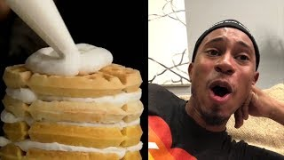 Kalen Reacts to Breakfast Cereal Waffle Cake