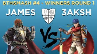 BTHSmash #4  - James (Ganondorf) vs 3aksh (Ike) -  Winners Round 1 -  Smash Wii U