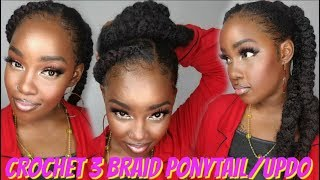 😍CROCHET | From My TWA To This.. 20 Min Crochet Feed In Braid Up-Do!