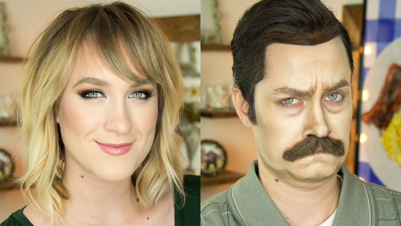 [Pretty Makeup Artist Turns Herself Into Ron Swanson Before Our Very Eyes] Video