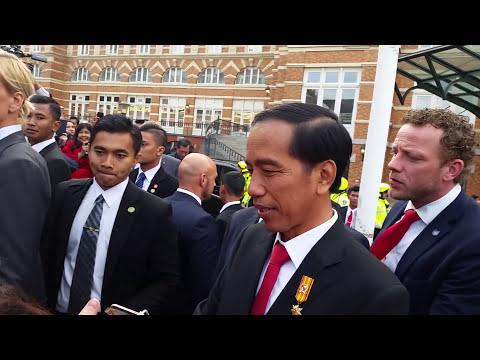 Presiden Joko Widodo tiba di Grand Hotel Amrath Kurhaus Scheveningen Den Haag.