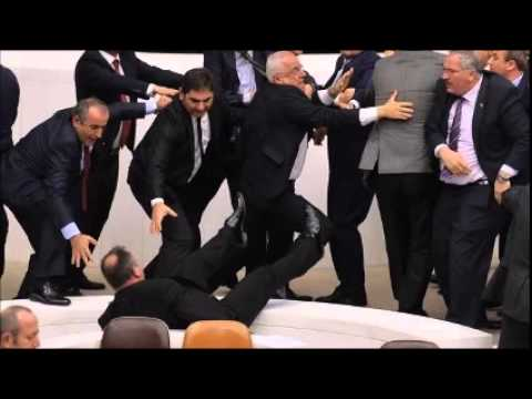 Opposition deputy falls from stairs at Turkish parliament amid fight over security bill