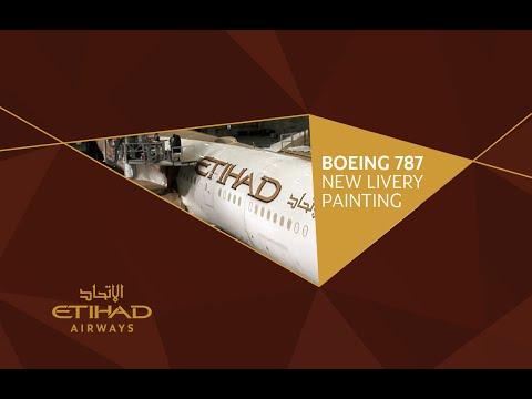 Etihad Airways - Boeing 787 Dreamliner - New Livery Painting Timelapse
