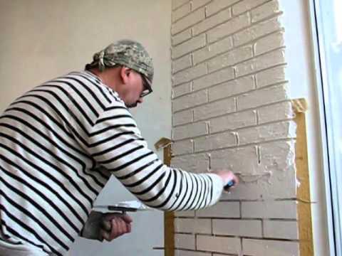 Как сделать из шпаклевки кирпичи на стене 215