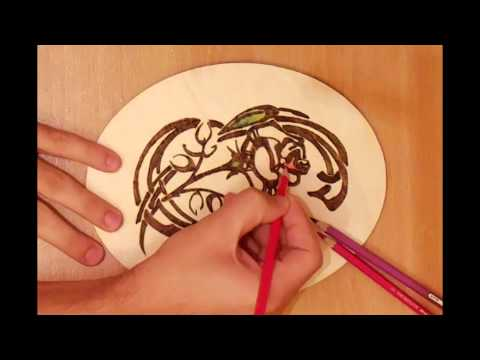 How to burn a pattern of a flower on wood - YouTube