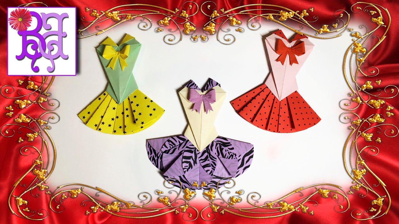 Оригами открытка платье 2