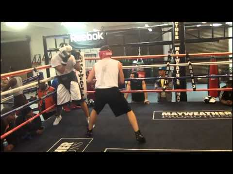 Luis 'Cuba' Arias sparring Canadian prospect Taylor Page at the Mayweather Boxing Club [Dec. 2012] Image 1