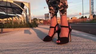 Lara going out for Hamburger Diner at Lake of Garda Sandals Sandaletten Jumpsuit High Heels