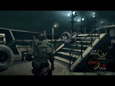 Resident Evil 5 PS4 - Chapter 6-1 Ship Deck: Crane Sequence, Key Card, Duvalia Fight Sheva Cage Trap