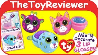 Ty Beanie Boo's DIY Lip Gloss Kit Cute Plush Unicorn Scented Unboxing Toy Review by TheToyReviewer